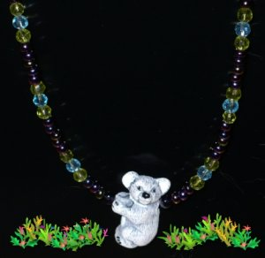 Ceramic Koala Pendant with Glass Beads