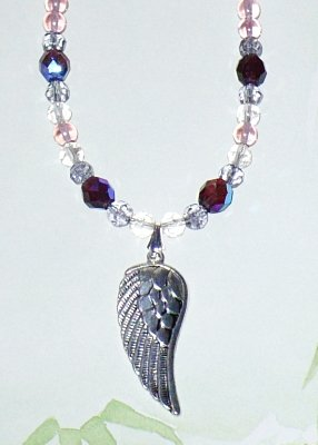 Angel Wing Necklace with Glass Beads