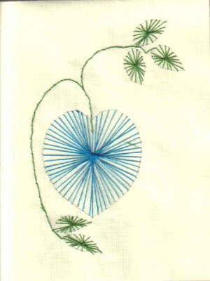 Blue Heart-shaped Flower Embroidered Notecards