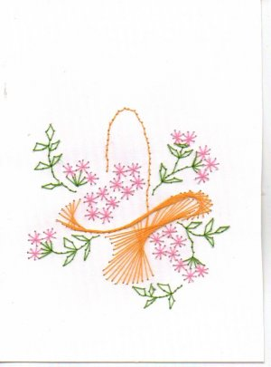 Hand Embroidered Basket of Flowers Greeting Card