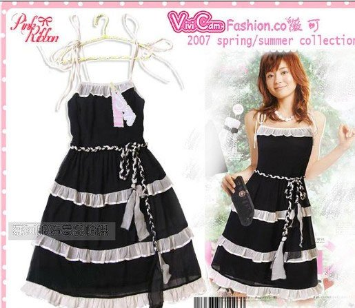 Black Chiffon Cutie Tea Dress D0401BP