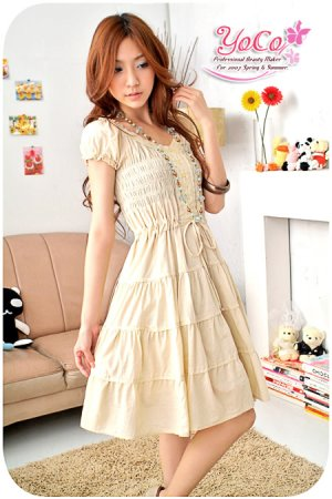 Korean Fashion Crumply Yellow Dress D0402YP