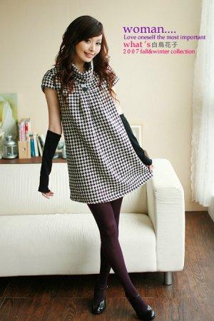 Short Checkered Taiwan Latest Fashion Doll Dress D0404KP