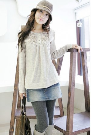 Laid-back Princess Lacy Front Light Grey Blouse C048800G