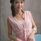 Pink Chiffon Dress with Beaded Lace Waistline (2 piece) D3066PH