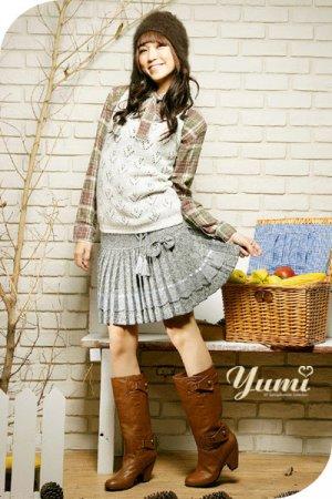 Grey Pleated Flare Skirt CS045107H