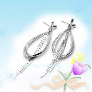 Eye Catching Large Silver with Long Dangling Earrings E041522