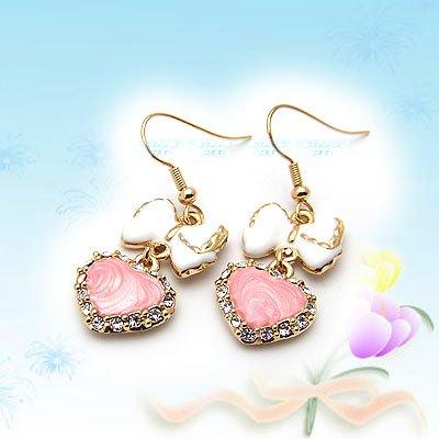 Princess Pink Heart and White Ribbon Earrings E041701