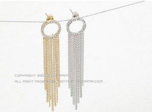 Shiny Silver Ring Korean Flowy Earrings