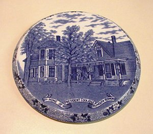 PRESIDENT COOLIDGE HOMESTEAD ENGLISH FLOW BLUE ADAMS TRIVET