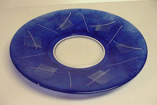 NYBRO BLUE CRYSTAL LARGE SWEDISH ABSTRACT PLATTER