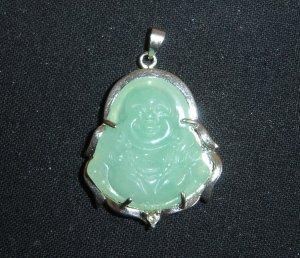 Green Jade Buddha Pendant Luck Fortune Hotei B2