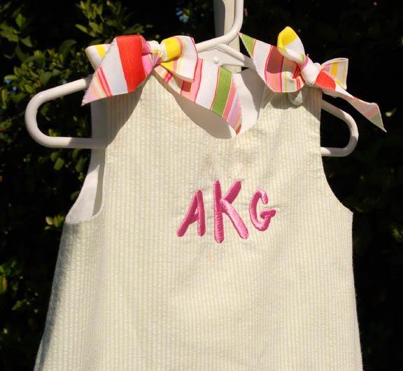 Pretty as a Picture Handmade Monogrammed Little Girls Dress
