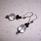 Rock Crystal and Black Onyx Sterling Silver Earrings