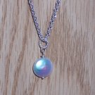 Simple Sterling Silver Chain Necklace with a White Coin Fresh Water Pearl Pendant
