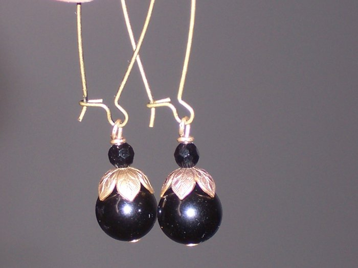 Black Onyx and antiqued Brass Beaded Dangle Earrings