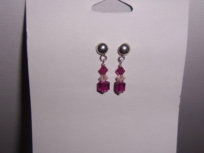 Fuschia Swarovski Crystal Earrings on Sterling Silver Posts