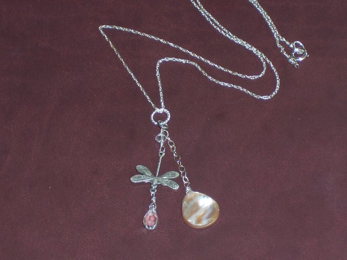 Dragonfly Charm Pendant on Sterling Silver chain