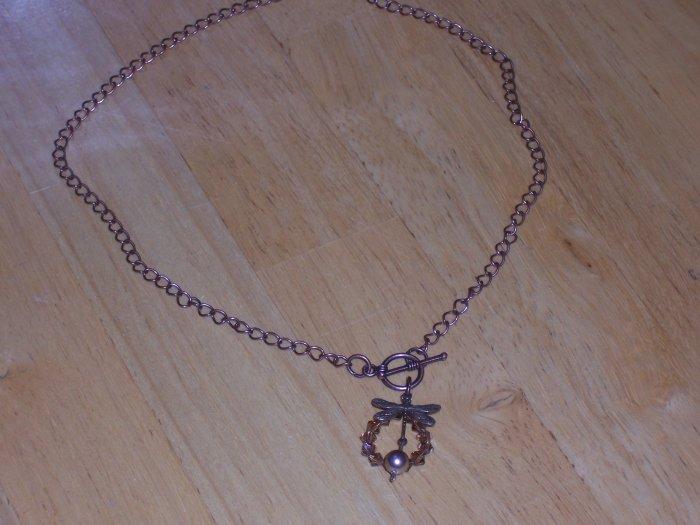Dragongfly and Swarovski Crystal Pendant on a Vintage Brass Necklace