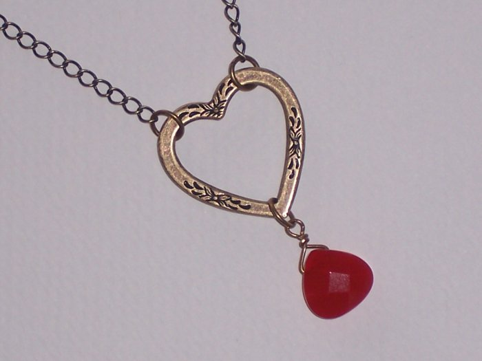 Red Love  faceted Quartz and Heart Pendant on antiqued brass Chain Necklace