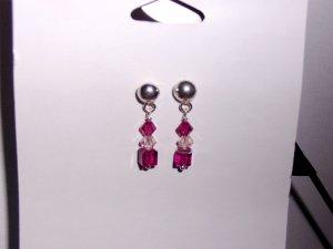 Mini Fuschia Swarovski Crystal Earrings on Sterling Silver Posts