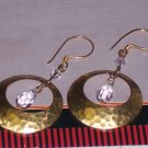 Hammered Brass Hoops and Swarovski Crystal Dangle Earrings FREE SHIPPING TO THE U.S.A.
