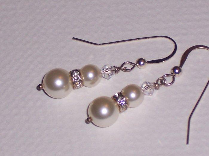 White Pearls and Swarovski crystal Dangle Earrings