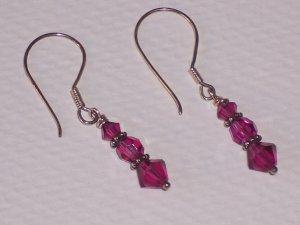 Sterling Silver and Fuschia Swarovski Crystal Earrings