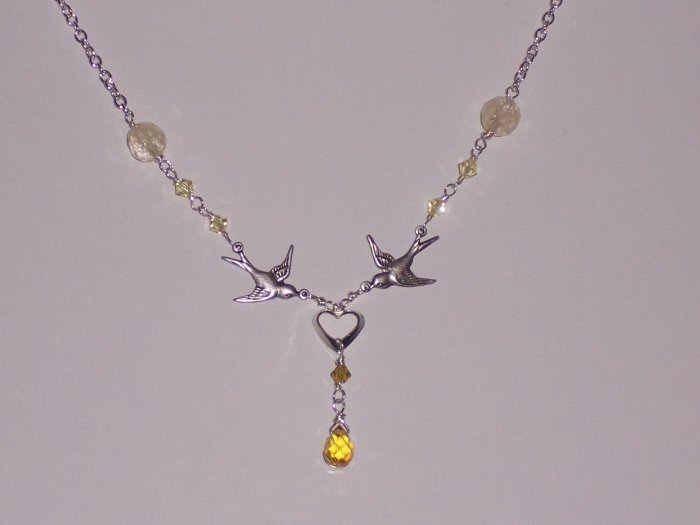 Sparrow Birds Necklace with Sterling Silver Heart, Chain, CZ and Swarovski