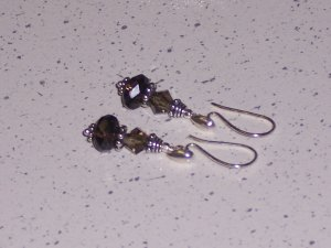 Sterling Silver and smoky Quartz with Swarovski Earrings