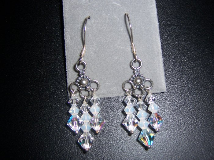 Sterling Silver and Swarovski Crystal Chandelier Earrings