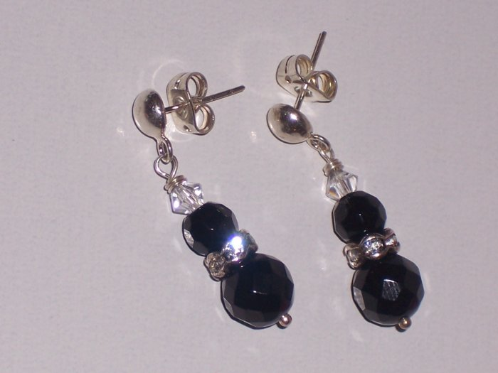 Black Onyx and Swarovski Crystal Earrings on Sterling Silver