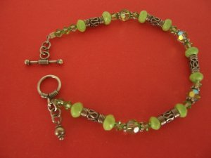 Green Turquoise Bracelet with Swarovski Crystal and Sterling Silver