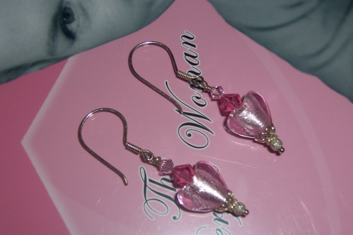 Murano Style Heart and Sterling Silver Earrings