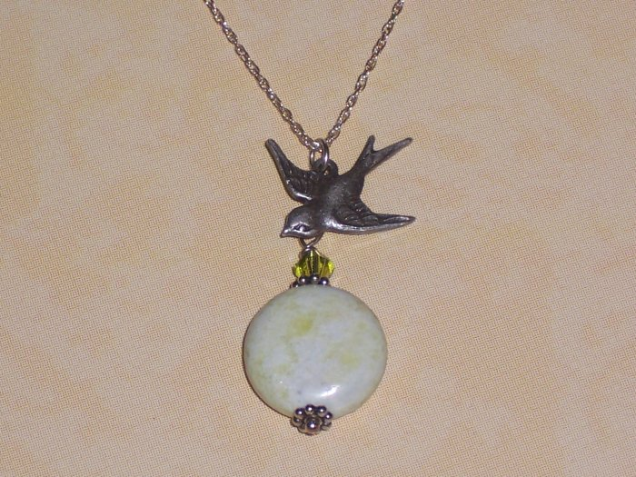 Sparrow Bird Necklace with Green Flower Jasper and Swarovski Crystal On Sterling Silver Chain