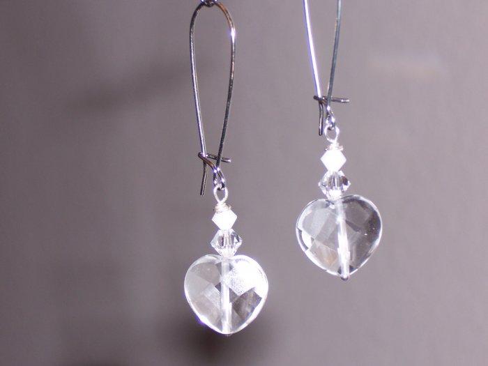 Bridal Heart Drop and Swarovski Crystal Earrings