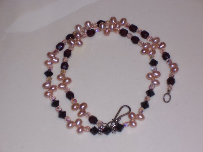 Pearls Swarovski and Sterling Silver Necklace