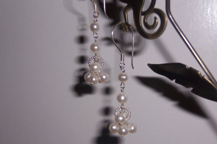 White Pearls and Sterling Silver Earrings