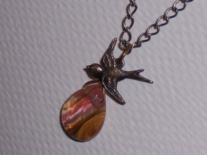 Sparrow Necklace with Galaxy Quartz Pendant on Brass Chain
