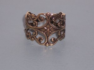 Antiqued Brass Filigree Ornate Trelis Adjustable Ring with Vine Designs