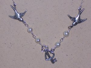 Heart and Key Sparrow Birds Necklace with White Pearls and Sterling Silver Chain