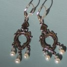 Lock the Door Earrings with White Pearls and Swarovski on Sterling Silver