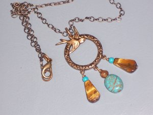 Brass Swallow Bird Necklace with a Pendant of Turquoise and Tigereye
