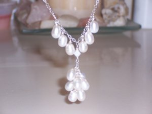 Cluster of White Pearls Necklace on Sterling Silver Chain