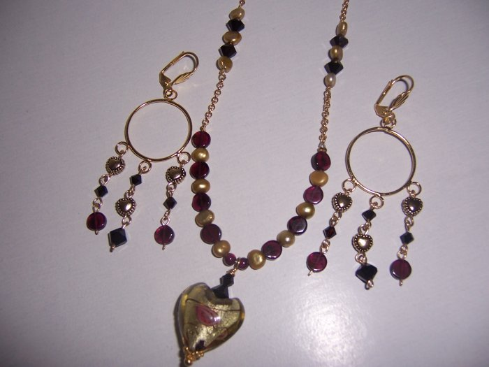 Gold Garnet Heart Necklace and Earrings Set
