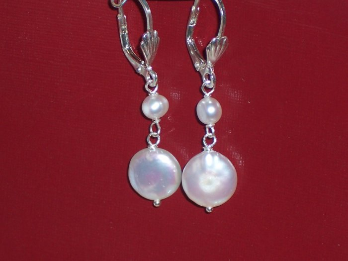 White Coin Pearls and Sterling Silver Earrings