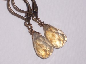 Galaxy Quartz Earrings on Antiqued Brass