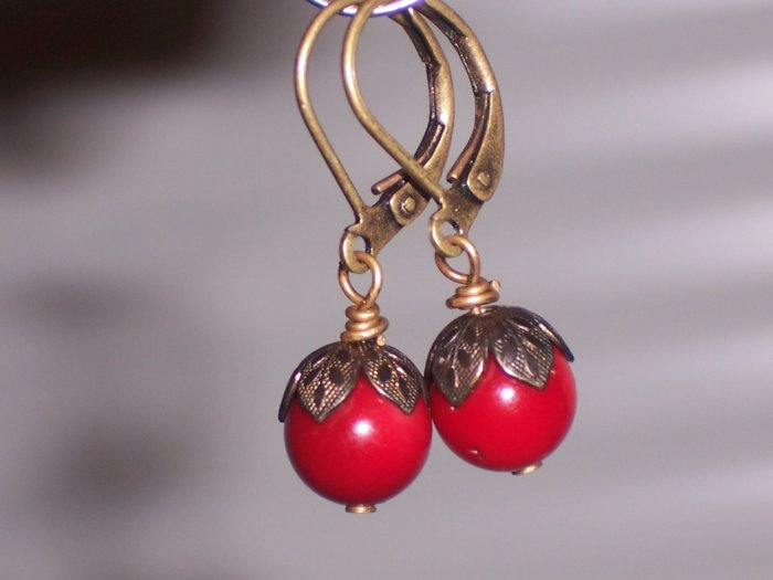 Red Coral Antiqued Dangle Earrings