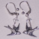 Flying Away Sparrow Bird Earrings on Sterling Silver Lever Backs and Swarovski Crystals