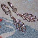 Filigree Leaf Branch Drop Earrings on Sterling Silver Lever Backs